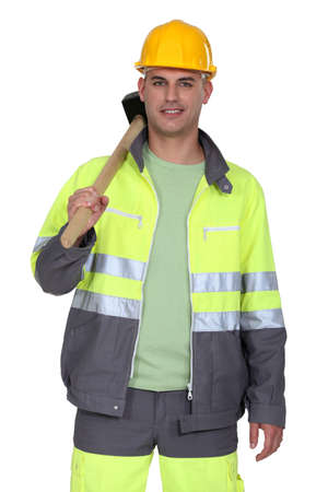 hi hat: Worker with a sledgehammer