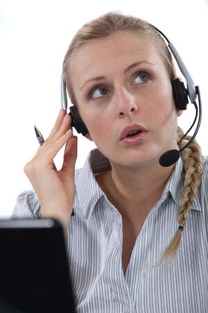 businesswoman wearing a headset photo