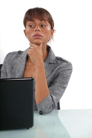 cogitation: businesswoman thinking