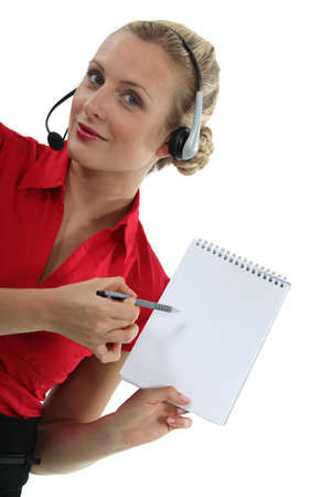 block note: businesswoman holding a block note Stock Photo