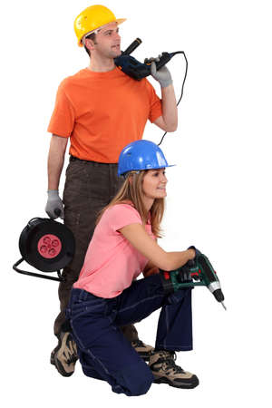 Young couple about to start renovating photo