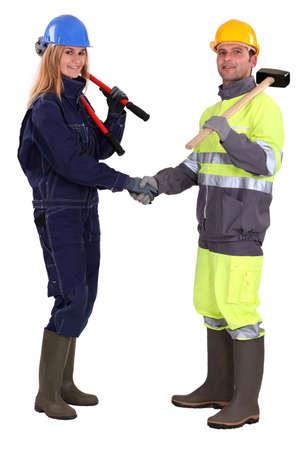 Tradespeople shaking hands Stock Photo - 17219791