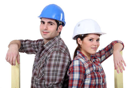 A couple of carpenters back to back  Stock Photo - 17220349