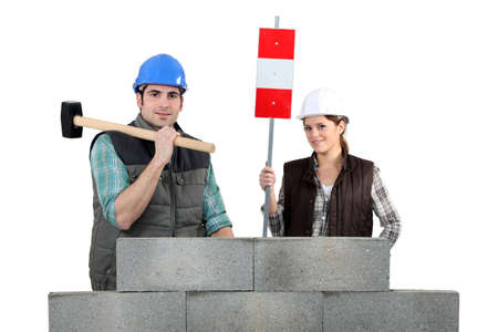public works: Mand and woman with hammer