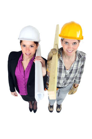 Engineer and construction worker side-by-side Stock Photo - 17219726
