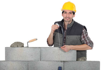 cement pile: Manual worker Stock Photo