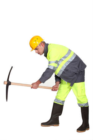 pickaxe: worker with a pickaxe