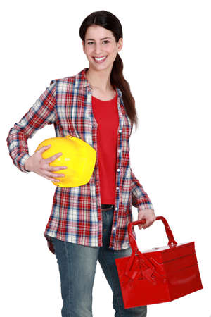 tradeswoman: Portrait of a tradeswoman arriving at work