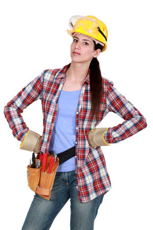 exasperation: Serious woman with tools Stock Photo