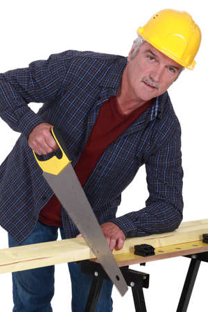 gimmick: Artisan sawing wood