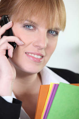 white headed: Businesswoman on a cellphone Stock Photo