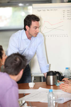 explanations: Sales manager giving explanations to group Stock Photo