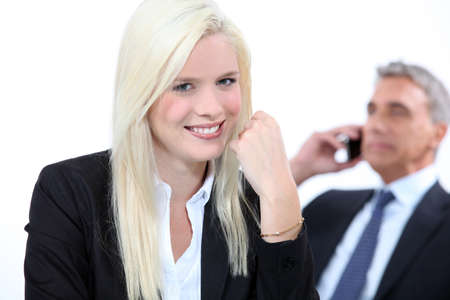 25 29 years: Smiling blonde businesswoman Stock Photo