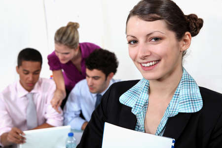 Young female teacher and students Stock Photo - 17220134