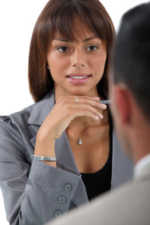 Businesswoman interviewing a job applicant photo