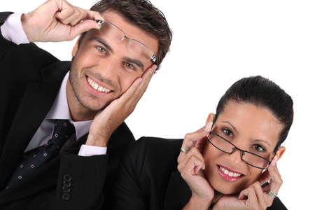 Businessman and woman in glasses photo
