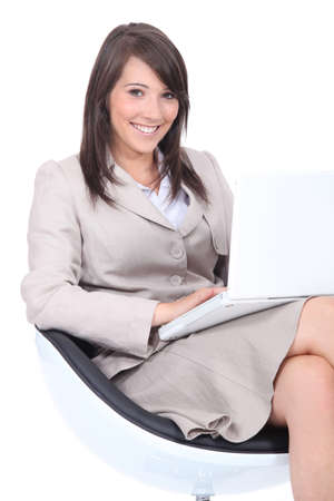 Young woman waiting for an interview photo
