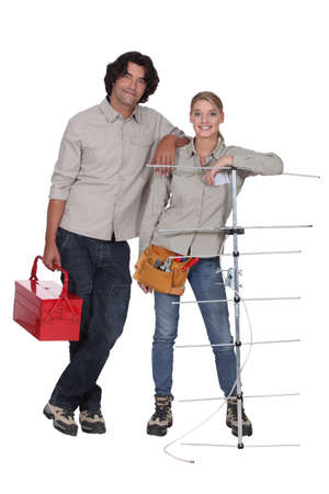 antennae: Couple stood with television aerial