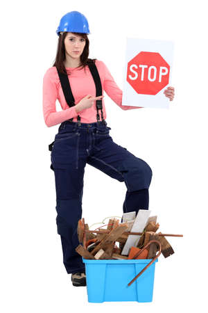 Tradeswoman campaigning against waste photo