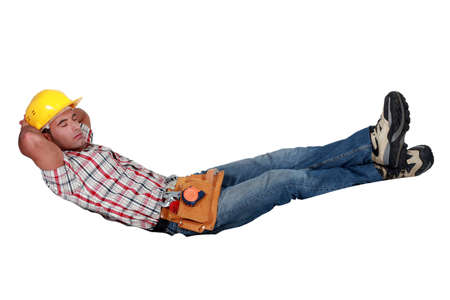 building contractor: Builder sleeping