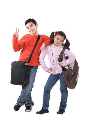 school bag: schoolchildren Stock Photo
