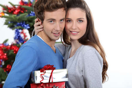 Young couple at Christmas photo