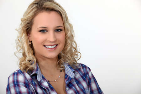 blithe: Portrait of a smiling young woman Stock Photo