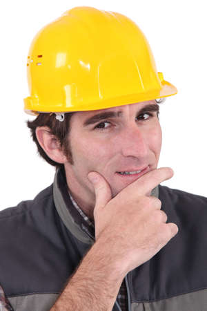 A pensive manual worker Stock Photo - 17220163