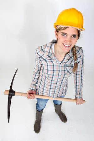 pickaxe: Woman with a pickaxe