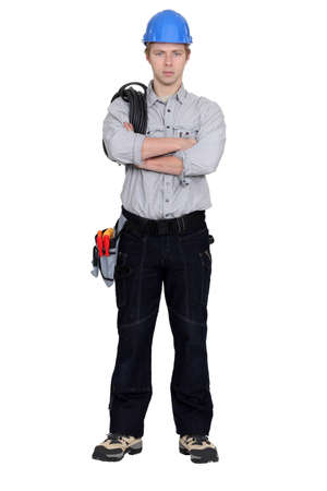 Angry tradesman with crossed arms Stock Photo - 17219611