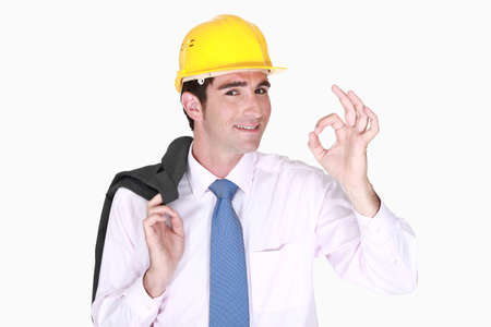 handsome smiling architect making okay sign Stock Photo - 17219870