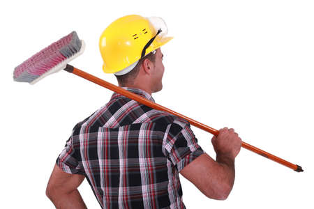 Man cleaning: Workers with brush