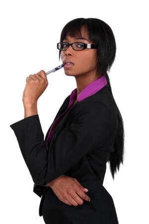 Businesswoman finding inspiration Stock Photo - 17219719