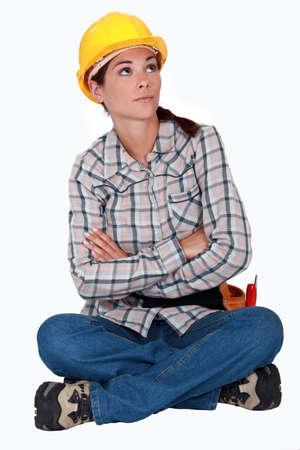 poner atencion: Trabajador de la construcción Annoyed Foto de archivo