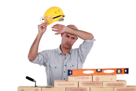 wonky: Bricklayer with a spirit level