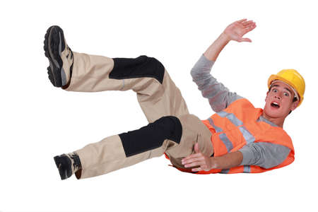 slippery: Construction worker falling over