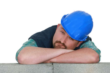 Bored tradesman at work photo