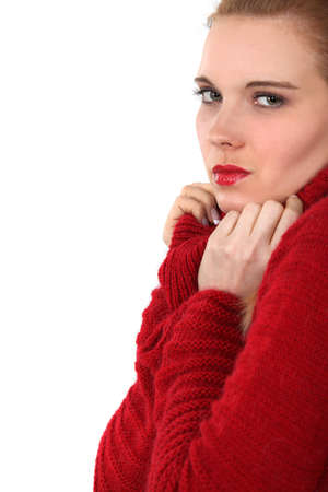 mohair: Woman in a red jumper