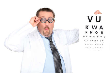 near sighted: Funny ophthalmologist wearing bifocals
