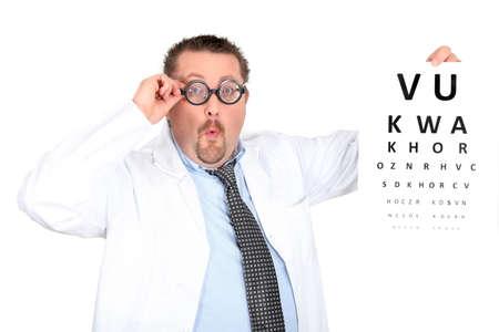 bifocals: Funny ophthalmologist wearing bifocals