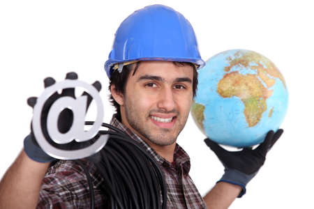 An electrician promoting the internet photo