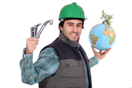 save the earth: Plumber with a tap and a globe