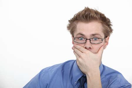 surprising: Man staring in astonishment