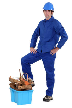 journeyman technician: portrait of blue collar looking bored Stock Photo