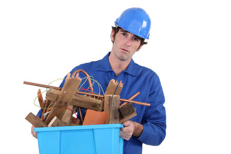 Unhappy tradesman photo