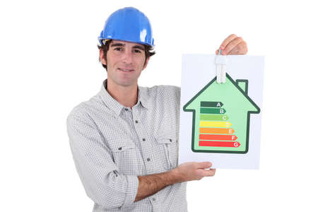 kwh: Laborer showing energy rating sign