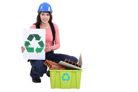 Builder recycling materials photo