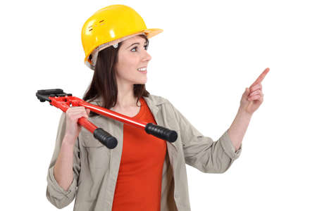 handywoman: A handywoman with pliers.
