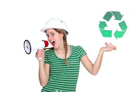 craftswoman: craftswoman holding a recycling label