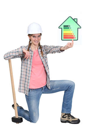 tradeswoman: Tradeswoman holding up rating chart